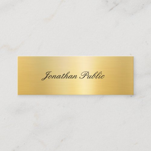 Modern Elegant Gold Look Calligraphy Script Trendy Mini Business Card