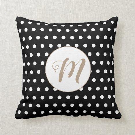 Modern Elegant Gold Monogram On Black Polka Dots Throw Pillow