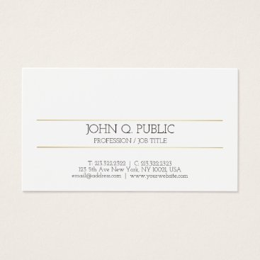 Lawyer Themed Modern Elegant Gold Striped White Minimal Plain Business Card