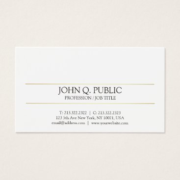 Lawyer Themed Modern Elegant Gold Striped White Sleek Plain Business Card