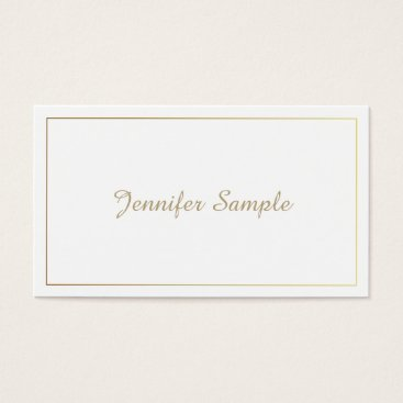 Lawyer Themed Modern Elegant Gold White Lawyer Director Manager Business Card