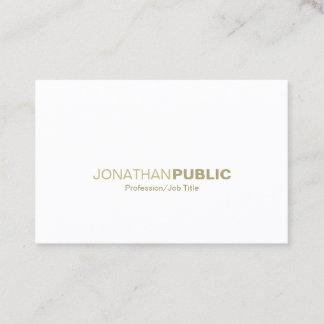 Modern Elegant Gold White Minimalist Chic Plain Business Card