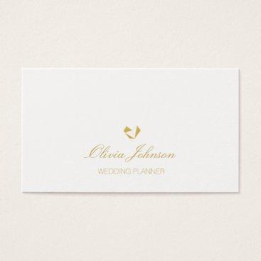 Professional Business Modern Elegant Gold & White Wedding Business Cards