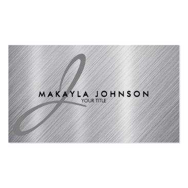 Modern & Elegant Gray Monogram Brushed Aluminum Double-Sided Standard Business Cards (Pack Of 100)