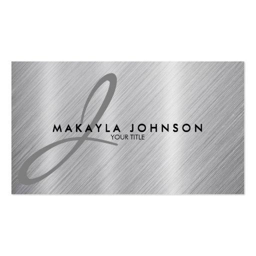 Modern & Elegant Gray Monogram Brushed Aluminum Double-sided Standard Business Cards (pack Of 100)