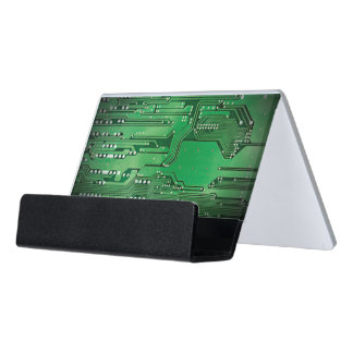 Modern Elegant Green Circuit Board Photo Desk Business Card Holder