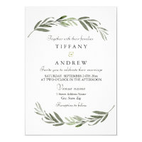 Modern Elegant Green Leaf Wedding Invitation
