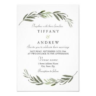 Modern Elegant Green Leaf Wedding Invitation
