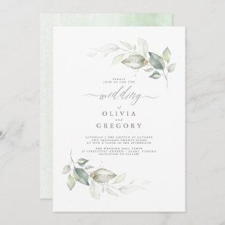 Modern Elegant Greenery Minimalist Wedding Invitation