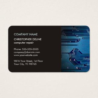 Modern Elegant Grey Blue Circuit Computer Repair Business Card