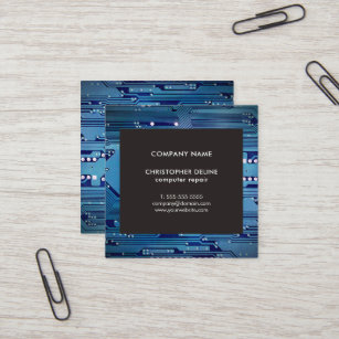 Circuit board business cards zazzle modern elegant grey blue circuit computer repair square business card colourmoves
