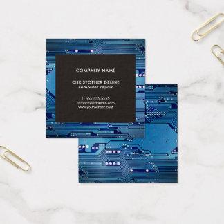 Modern Elegant Grey Blue Circuit Computer Repair Square Business Card