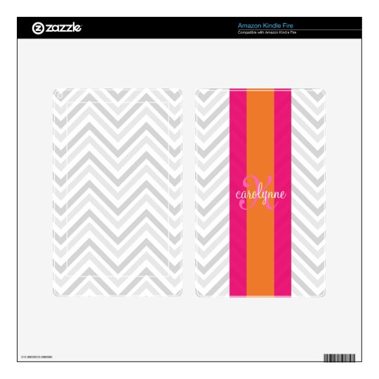 Modern Elegant Grey Pink Chevron Personalized Skins For Kindle Fire