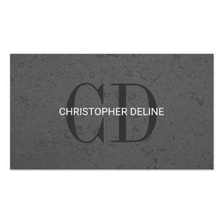 Modern Elegant Grey Stone Monogram Consultant Business Card