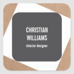 Modern Elegant Grey White Kraft Paper Name Square Sticker
