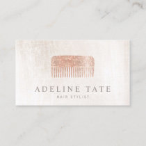 Modern Elegant Hair Stylist Rose Gold Sequin Comb Business Card