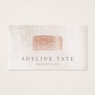 Modern Elegant Hair Stylist Rose Gold Sequin Comb Business Card
