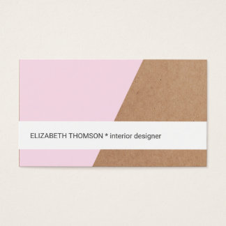 Modern Elegant Kraft Paper Rose White Geometric Business Card