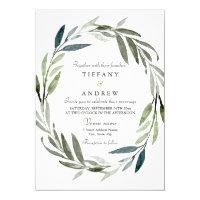 Modern Elegant Leaf Wreath Wedding Invitation