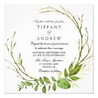 Modern Elegant Leaf Wreath Wedding Invite
