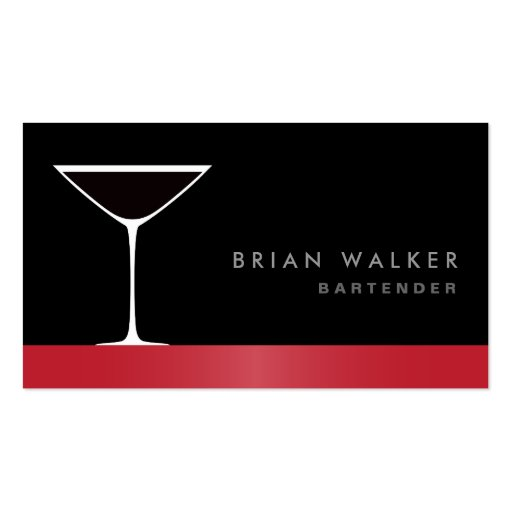 Modern elegant martini cocktail glass bartender business card templates