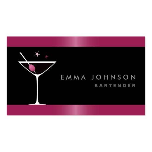 Modern elegant martini cocktail glass bartender business cards