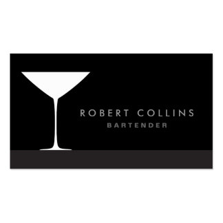 Modern elegant martini cocktail glass bartender Double-Sided standard business cards (Pack of 100)