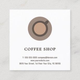 Coffee business cards zazzle modern elegant minimal coffee icon coffee shop square business card colourmoves