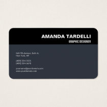 Modern Elegant Minimalist Black Blue Grey Business Card