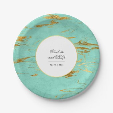 Beach Themed Modern Elegant Mint and Faux Gold Foil Wedding Paper Plate