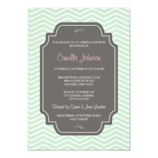 Modern Elegant Mint Green Chevron Bridal Shower Personalized Invitations