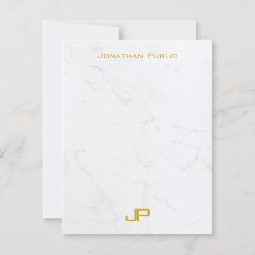 Modern Elegant Monogram Gold Text Marble Simple Note Card