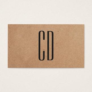Modern Elegant Monogram Kraft Paper Consultant Business Card