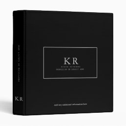 modern & elegant monogram on black 3 ring binder