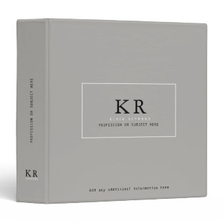 modern & elegant monogram on gray binder