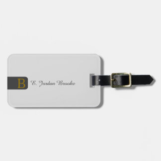 Modern Elegant Monogram (Silver BG) Luggage Tag
