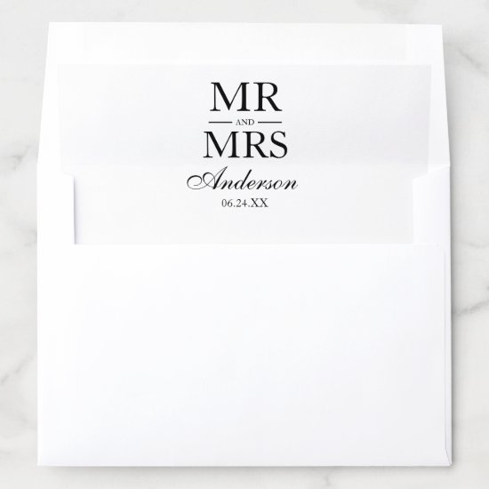 Modern Elegant Mr. and Mrs. Wedding Envelope Liner