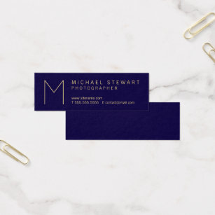 Navy blue and gold business cards templates zazzle modern elegant navy blue and gold monogram mini business card colourmoves Gallery