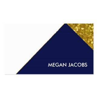Modern Elegant Navy Faux Gold Sparkle Geometric Business Card