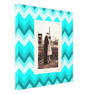 modern elegant ombre turquoise chevron wedding canvas print