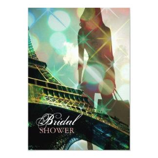 modern elegant paris silhouette bridal shower 5x7 paper invitation card
