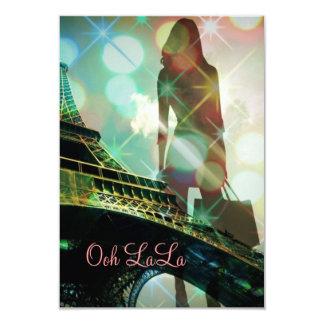 modern elegant paris sparkles silhouette bridal 3.5x5 paper invitation card