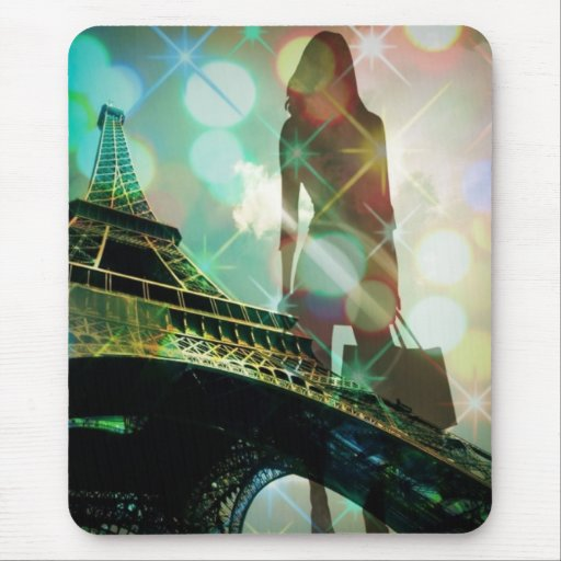 modern elegant paris sparkles silhouette fashion mouse pad