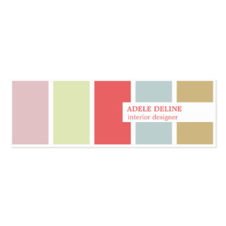 Modern Elegant Pastel Stripes Interior Designer Double-Sided Mini Business Cards (Pack Of 20)