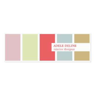 Modern Elegant Pastel Stripes Interior Designer Mini Business Card