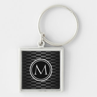 Modern Elegant Pattern and Monogram Silver-Colored Square Keychain