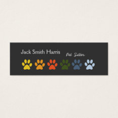 Modern Elegant Paws Pet Sitter Veterinarian Mini Business Card at Zazzle