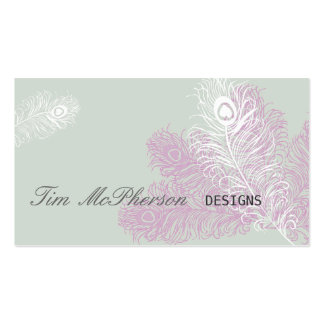 Modern Elegant Peacock Feathers Mardi Gras Business Card