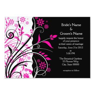 Modern Elegant Pink and Black Floral Wedding Card