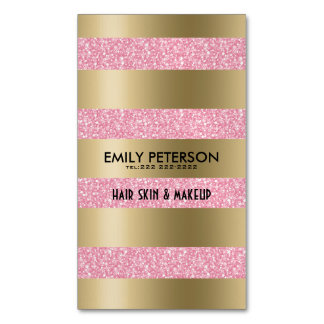 Modern Elegant Pink Glitter And Gold Stripes Business Card Magnet